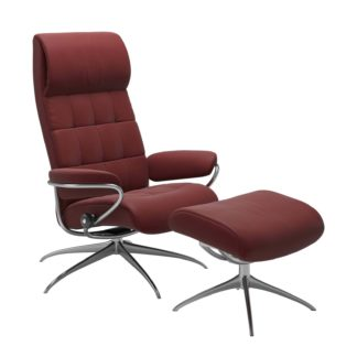 Sessel LONDON High Back mit Hocker Leder Paloma cherry Gestell chrom Stressless