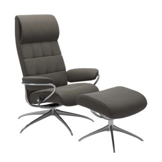 Sessel LONDON High Back mit Hocker Leder Paloma metal grey Star Gestell chrom Stressless
