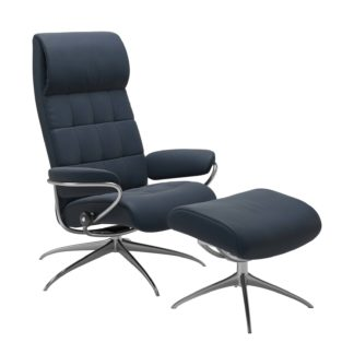 Sessel LONDON High Back mit Hocker Leder Paloma oxford blue Star Gestell chrom Stressless