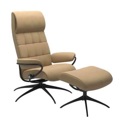 Sessel LONDON High Back mit Hocker Leder Paloma sand Gestell matt schwarz Stressless