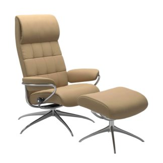 Sessel LONDON High Back mit Hocker Leder Paloma sand Gestell chrom Stressless