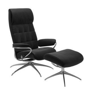 Sessel LONDON High Back mit Hocker Leder Paloma schwarz Gestell chrom Stressless