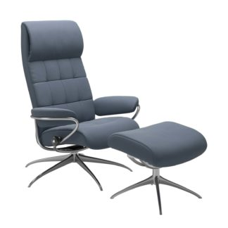 Sessel LONDON High Back mit Hocker Leder Paloma sparrow blue Gestell chrom Stressless