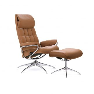 Sessel LONDON High Back mit Hocker Leder Paloma taupe Starbase Gestell chrom Stressless