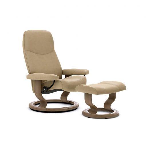 stressless consul classic batick latte mit hocker stressless. Black Bedroom Furniture Sets. Home Design Ideas