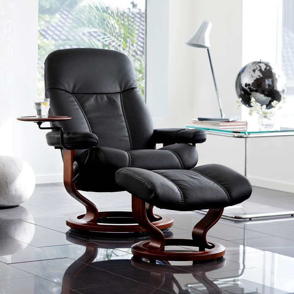 Sessel CONSUL Classic mit Hocker Leder Batick schwarz Gestell braun Stressless