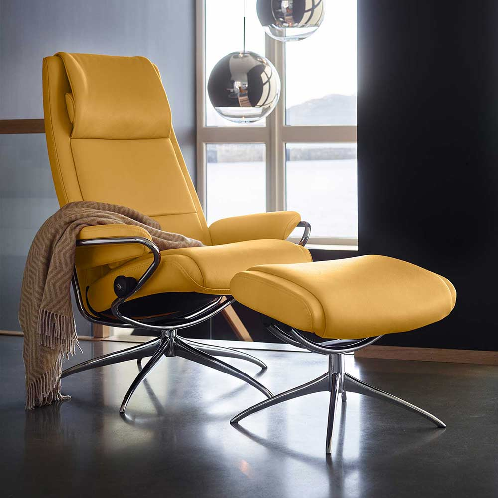 Sessel PARIS High Back mit Hocker Leder Batick mimosa Starbase Gestell chrom Stressless