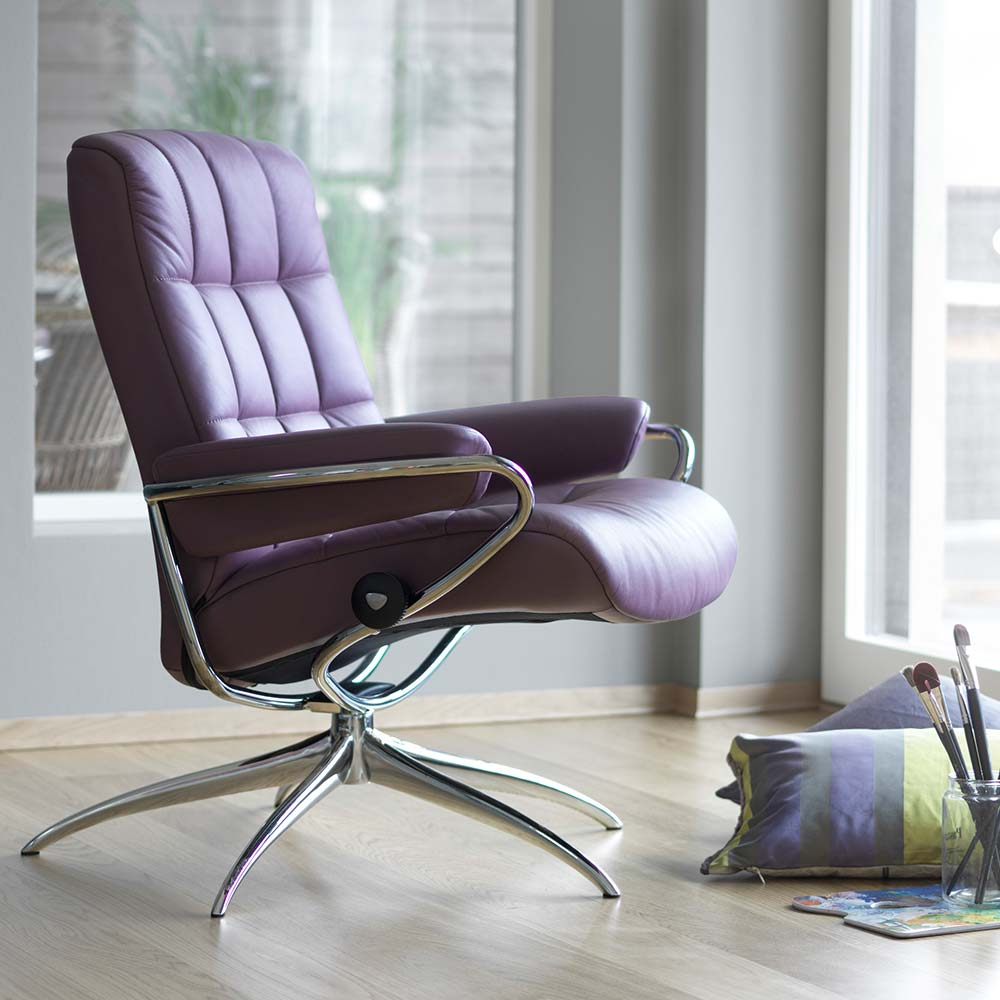 Sessel LONDON Stressless lowback Untergestell Starbase chrom Paloma purpleplum Leder