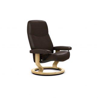 Sessel CONSUL Classic ohne Hocker Leder Batick braun Gestell natur Stressless