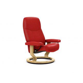 Sessel CONSUL Classic ohne Hocker Leder Batick chilli red Gestell natur Stressless