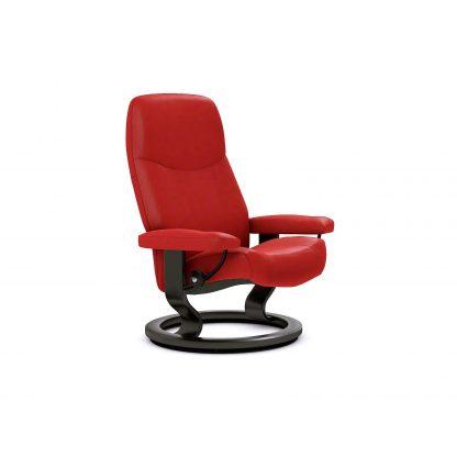 Sessel CONSUL Classic ohne Hocker Leder Batick chilli red Gestell schwarz Stressless