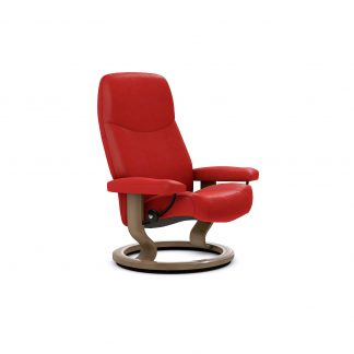 Sessel CONSUL Classic ohne Hocker Leder Batick chilli red Gestell walnuss Stressless