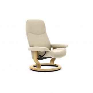 Sessel CONSUL Classic ohne Hocker Leder Batick cream Gestell natur Stressless