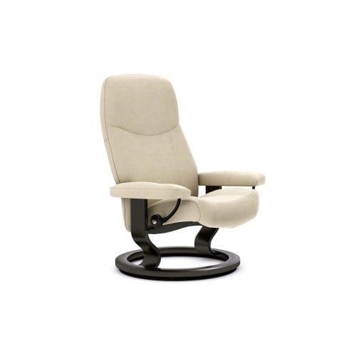 Sessel CONSUL Classic ohne Hocker Leder Batick cream Gestell schwarz Stressless