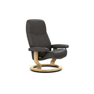 Sessel CONSUL Classic ohne Hocker Leder Batick grey Gestell natur Stressless