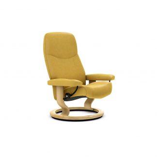 Sessel CONSUL Classic ohne Hocker Leder Batick mimosa Gestell natur Stressless