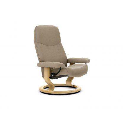 Sessel CONSUL Classic ohne Hocker Leder Batick mole Gestell natur Stressless