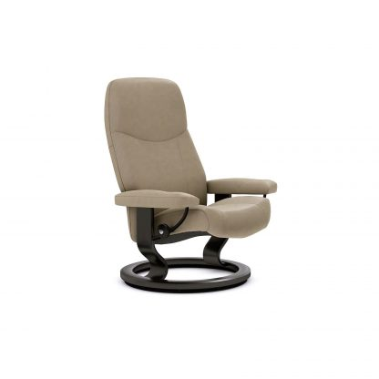 Sessel CONSUL Classic ohne Hocker Leder Batick mole Gestell schwarz Stressless