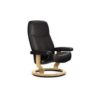 Sessel CONSUL Classic ohne Hocker Leder Batick schwarz Gestell natur Stressless