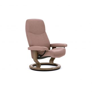 Sessel CONSUL Classic ohne Hocker Leder Batick smoke rose Gestell walnuss Stressless