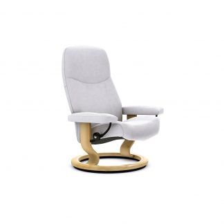 Sessel CONSUL Classic ohne Hocker Leder Batick snow Gestell natur Stressless