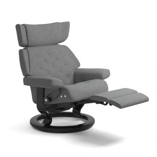 Sessel SKYLINE Classic LegComfort Stoff Calido light grey Gestell schwarz Stressless