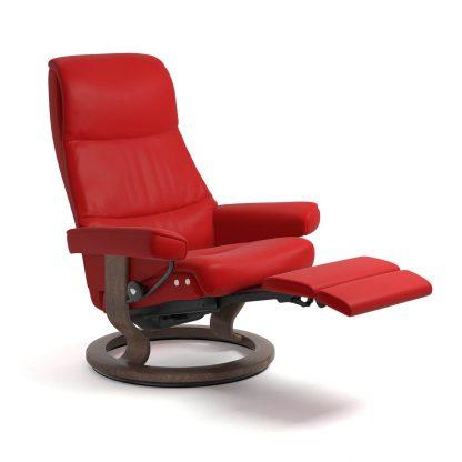 Sessel VIEW Classic LegComfort Leder Batick chilli red Gestell walnuss Stressless
