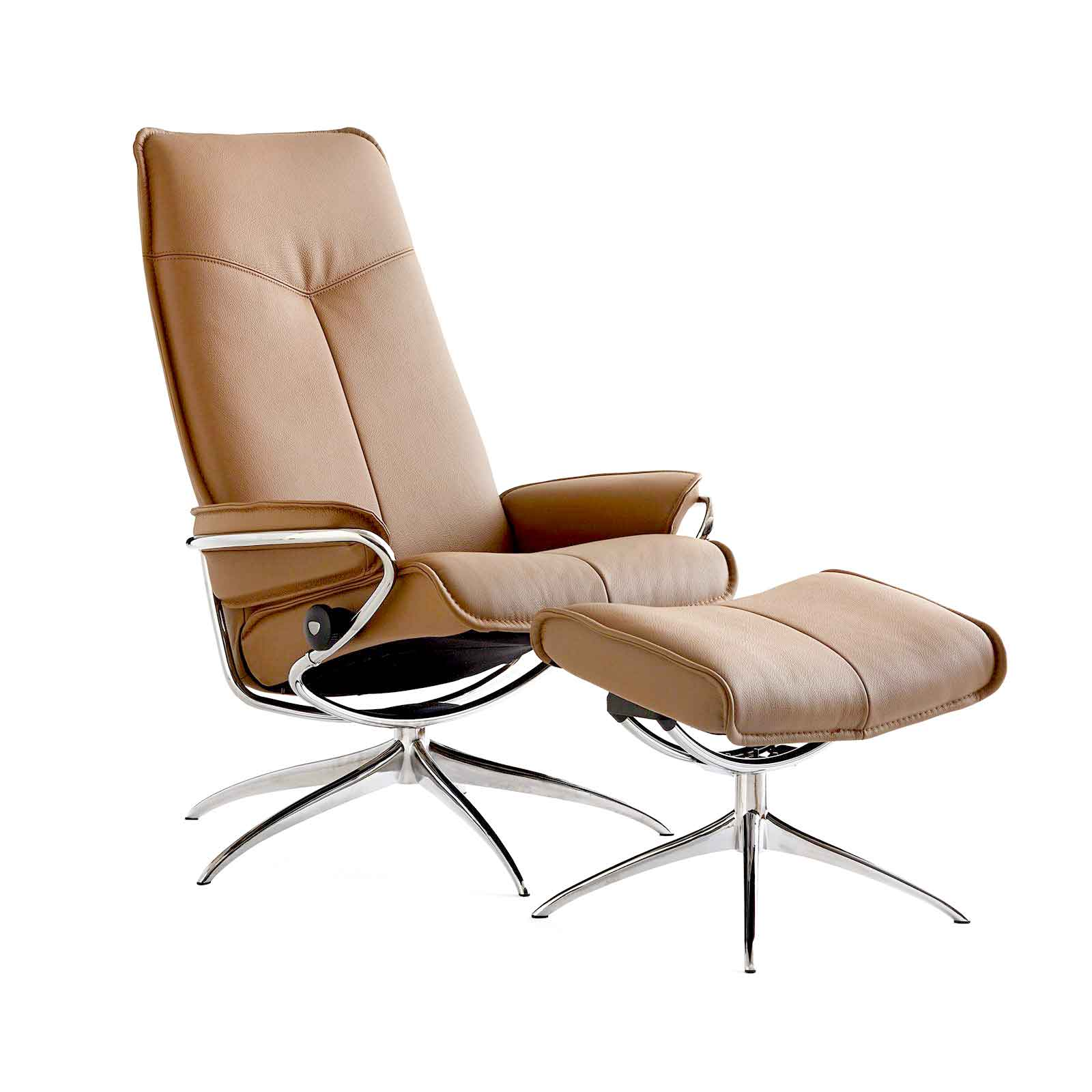 Stressless Sessel City High Back Mit Hocker Taupe Chrom
