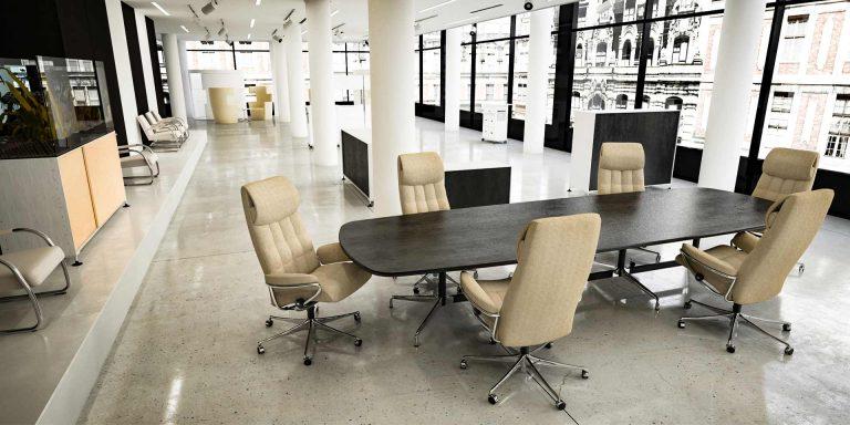 London High Back Bürostuhl Home Office beiges Leder Konferenztisch Stressless