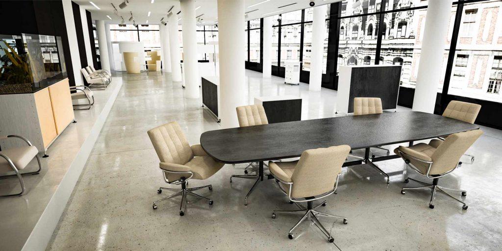 London Low Back Bürostuhl Home Office beiges Leder Konferenztisch Stressless