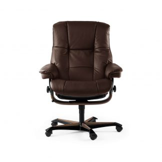 Sessel MAYFAIR Home Office Leder Batick braun Gestell braun mit Rollen Stressless