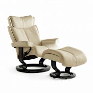 Sessel MAGIC Classic mit Hocker Leder Paloma vanilla Gestell wenge Stressless
