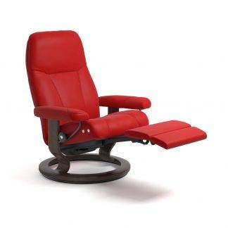 Sessel CONSUL Classic LegComfort Leder Batick chilli red Gestell wenge Stressless