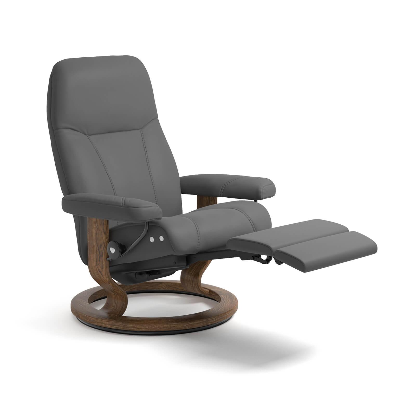 stressless reaxsessel consul legcomfort batick grau teak. Black Bedroom Furniture Sets. Home Design Ideas