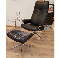 Sessel CITY High Back mit Hocker Leder Paloma black Starbase Gestell chrom Ausstellung Stressless