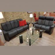 Sofa LEGEND 3-Sitzer niedrig und 2-Sitzer hoch Leder Paloma rock Ausstellung Stressless