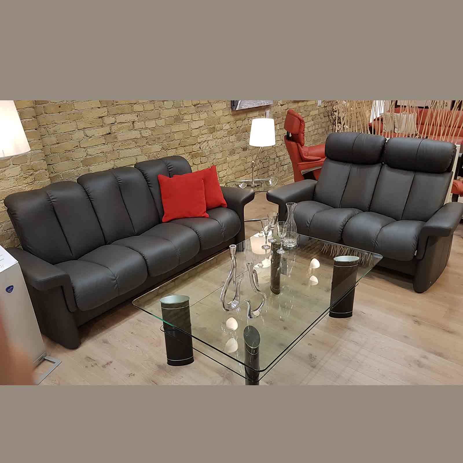 Stressless sofa 3 sitzer 2 sitzer legend m lederfarbe rock for Sofa 2 sitzer leder