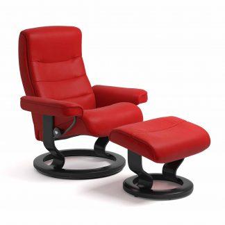 Sessel NORDIC Classic mit Hocker Leder Batick chilli red Gestell schwarz Stressless