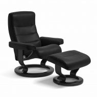 Sessel NORDIC Classic mit Hocker Leder Batick schwarz Gestell schwarz Stressless