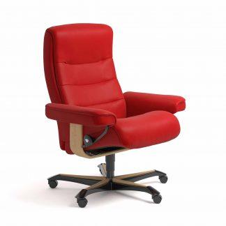 Sessel NORDIC Home Office Leder Batick chilli red Gestell natur mit Rollen Stressless