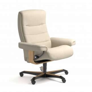 Sessel NORDIC Home Office Leder Batick cream Gestell natur mit Rollen Stressless