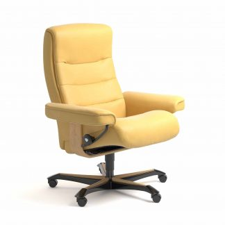 Sessel NORDIC Home Office Leder Batick mimosa Gestell natur mit Rollen Stressless