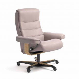 Sessel NORDIC Home Office Leder Batick smoke rose Gestell natur mit Rollen Stressless