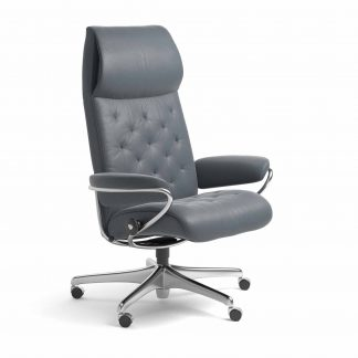 Sessel METRO High Back Home Office Leder Batick atlantic blue Starbase Metallgestell mit Rollen Stressless