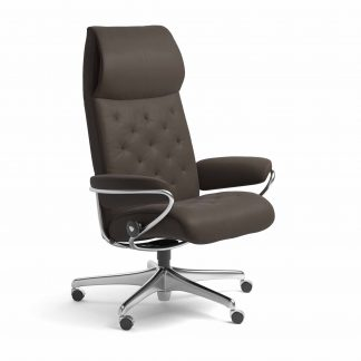 Sessel METRO High Back Home Office Leder Batick braun Starbase Metallgestell mit Rollen Stressless