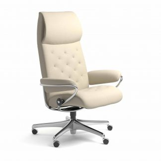 Sessel METRO High Back Home Office Leder Batick cream Starbase Metallgestell mit Rollen Stressless