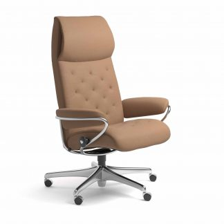 Sessel METRO High Back Home Office Leder Batick latte Starbase Metallgestell mit Rollen Stressless
