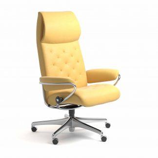 Sessel METRO High Back Home Office Leder Batick mimosa Starbase Metallgestell mit Rollen Stressless