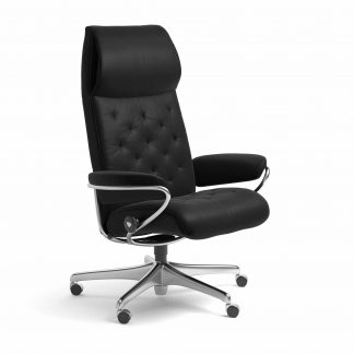 Sessel METRO High Back Home Office Leder Batick schwarz Starbase Metallgestell mit Rollen Stressless