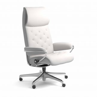Sessel METRO High Back Home Office Leder Batick snow Starbase Metallgestell mit Rollen Stressless